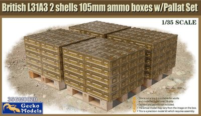 Gecko Models 35GM0020 British L31A3 2 shells 105mm ammo boxes w/Pallet set 1:35