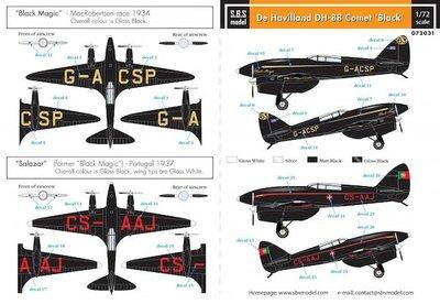S.B.S. model  D72031 De Havilland DH-88 Comet 'Black'