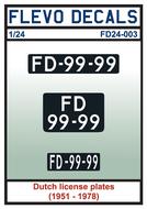FD24-003 - Dutch license plates (1951 - 1978) - 1:24 - [Flevo Decals]
